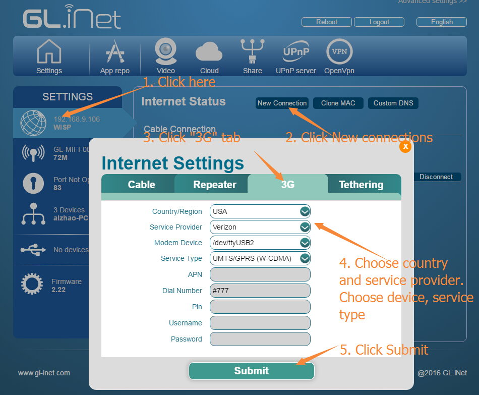 Internet Settings - GL iNet Docs