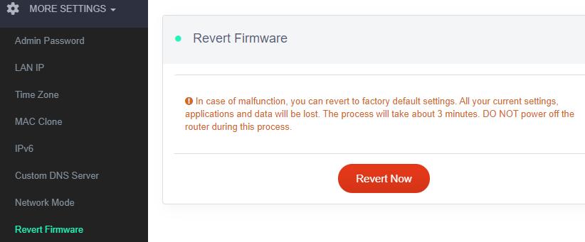 revert firmware