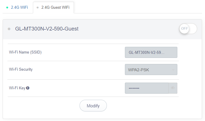 guest wifi 2.4g status