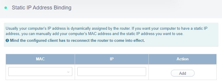 static ip address binding