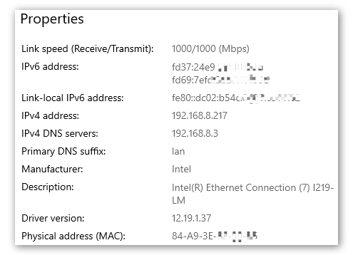property of network on windows 10