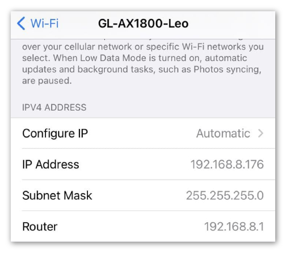 router ip address on iphone
