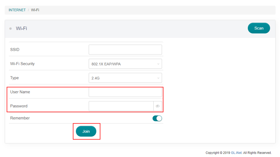 repeater username password
