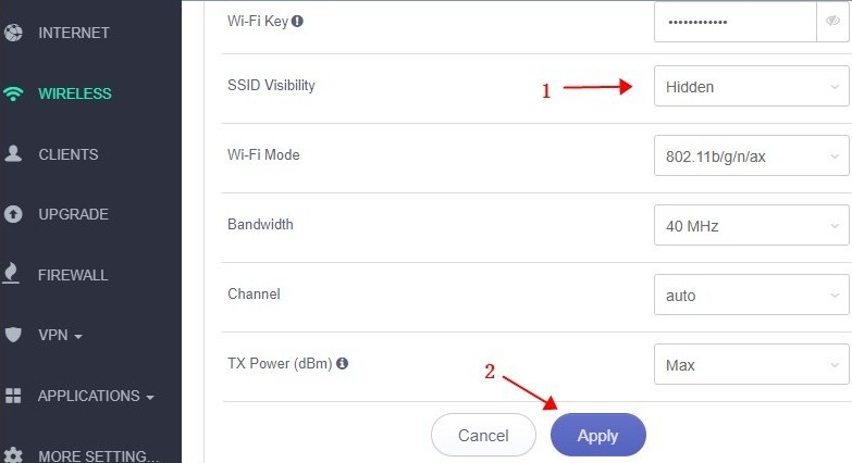 change ssid visibility to hidden