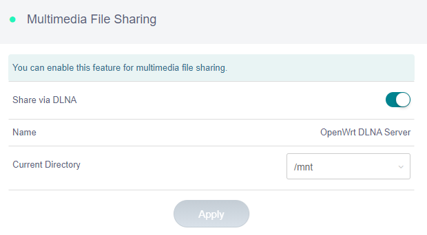multimedia file sharing enabled