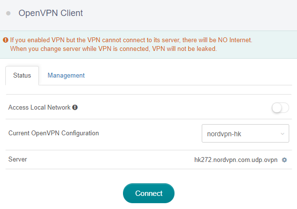 has imported openvpn config