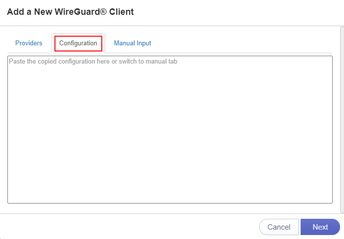 paste wireguard config