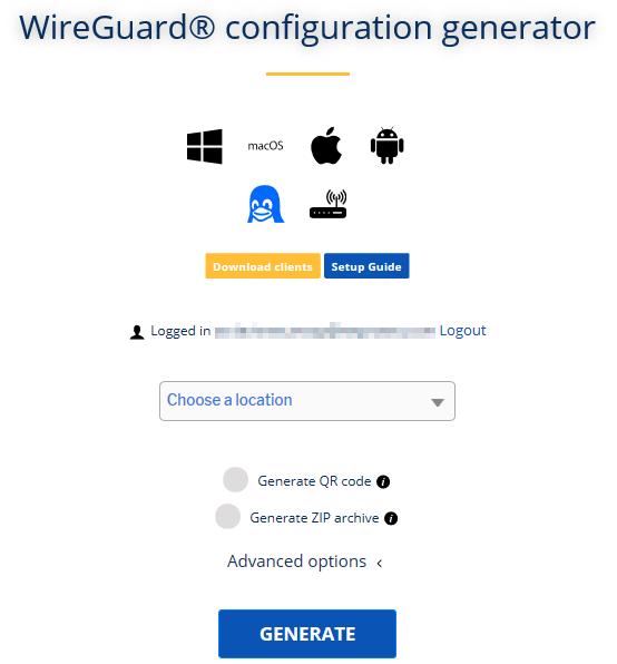 strongvpn wireguard configuration generator