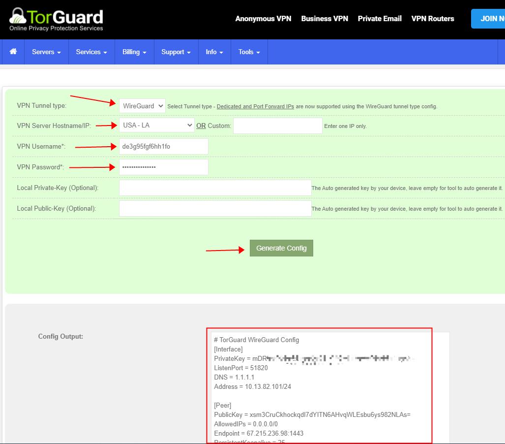 torguard generate wireguard config