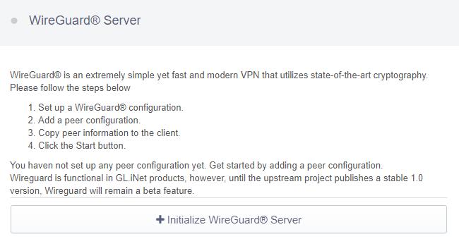initialize wireguard server