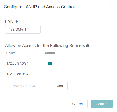 LAN IP and routes