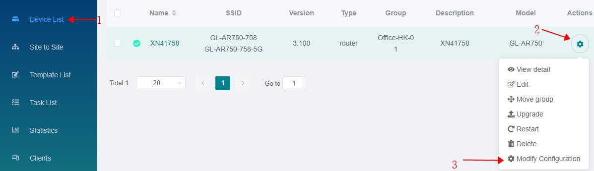 Modify Configuration