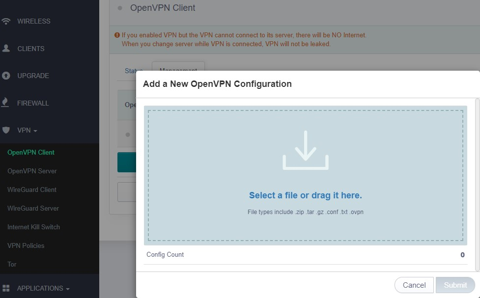 new openvpn configuration dialog