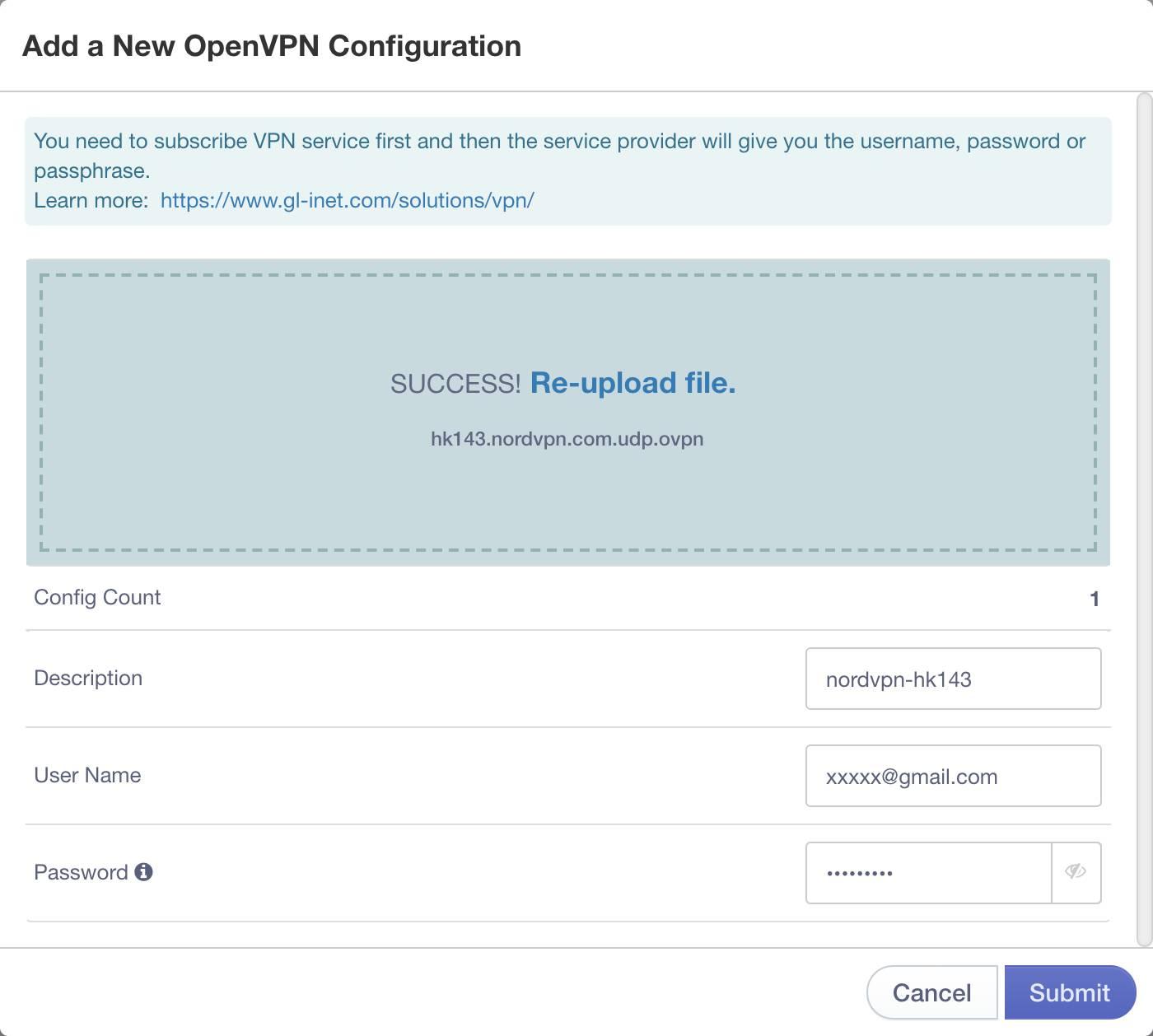 input nordvpn credentials